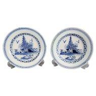 Antique Delft Chinoiserie Plates, Lambeth Abigail Griffiths, Pair