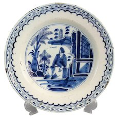 Antique Delft Chinoiserie Charger with Figure