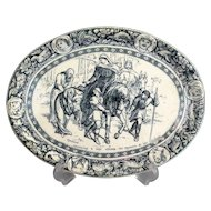 Antique Wedgwood Ivanhoe Tansfer Ware Platter, Sir Walter Scott