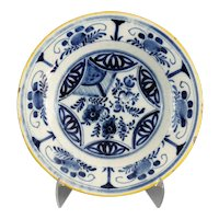 Antique Blue & White Dutch Delft Plate