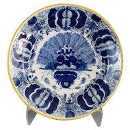 Antique Dutch Delft 'Peacock' Plate