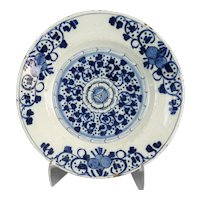 Antique Dutch Delft Plate, 18th-Century