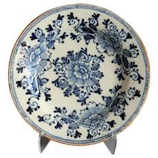 18th-Century Antique Dutch Delft Plate, Hatchet Mark