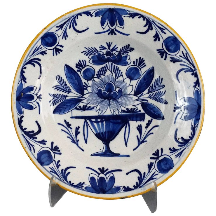 Antique 18th-Century Chinoiserie Dutch Delft Plate Blue u0026 White  sc 1 st  Ruby Lane & Antique 18th-Century Chinoiserie Dutch Delft Plate Blue u0026 White ...