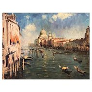 Grand Canal Venice, Italian School Impressionism Oil Painting