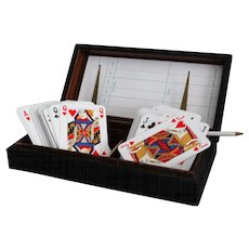 Italian Leather Playing Cards Box Set