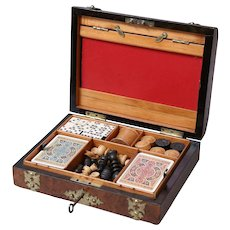 Antique English Walnut Games Box Compendium