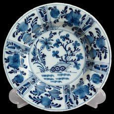 18th-Century Antique Delft Faience Chinoiserie Plate, Blue and White