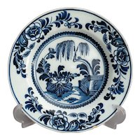 18th-Century Antique Delft Faience Chinoiserie Plate