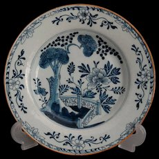 18th-Century Antique Dutch Delft Faience Plate, Chinoiserie, Hatchet Mark