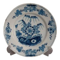 18th-Century Antique Dutch Delft Faience Chinoiserie Plate