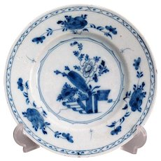 Antique 19th-Century Delft Chinoiserie Plate, Blue and White