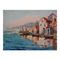 French Cote D'Azur Impressionism Oil Painting, Seascape, Nautical
