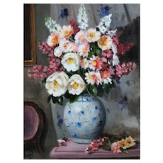 Cabbage Roses Floral Still Life Oil Painting
