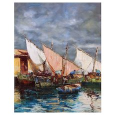 Impressionist Dock Scene Marine Oil Painting, Nautical, Seascape