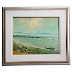 Sailboats Along the Coast Oil Painting, Nautical, Seascape