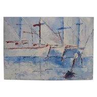 Sailboats Impressionism Impasto Nautical Oil Painting, Marine