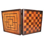 English Games Board with Inlay, Chess, Checkers, Backgammon, Nine Men Morris