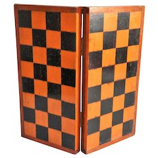 Antique English Chess & Checkers Games Box