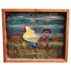 Texas Americana Folk Art Rooster Painting