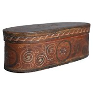 19th-Century Norwegian Tine Bentwood Box, Rosemaling Folk Art