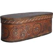 19th-Century Norwegian Tine Bentwood Box, Rosemaling Folk Art