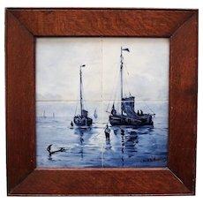Antique Nautical Delft Tile Plaque, after Mesdag