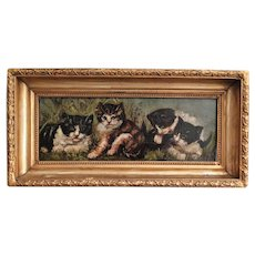 C. 1900 Kittens Cats Portrait Oil on Canvas Painting
