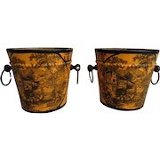 Antique French Tole Cache Pots, Pair, Mustard Yellow