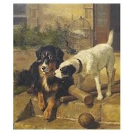 'Best of Friends' Carl Suhrlandt Antique Dog Oil Painting