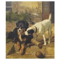 'Best of Friends' Carl Suhrlandt Antique Dog Oil Painting