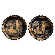 Antique Pair Papier Mache Wine Coasters / Trays