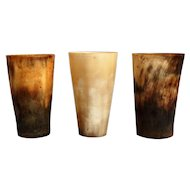 19th-C. English Horn Stirrup Cups, Set of 3