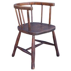 19th-Century Antique English Elm Child's Chair