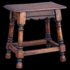Antique English Oak Pegged Joint Stool Footstool