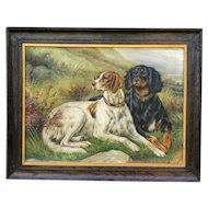 Antique Sporting Dogs Oil Painting