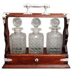 Antique Liquor Tantalus, Lock & Key, Oak & Silver