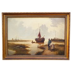 Antique Dutch Seascape Oil Painting