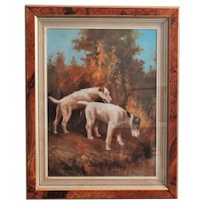 Antique Oil Painting Two Terriers Dogs after Arthur Wardle