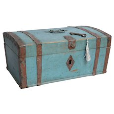 Antique Swedish Chest Strong Box with Snatch Lock & Key, Original Paint