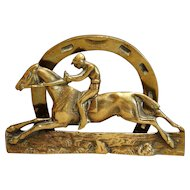 Circa 1930, English Brass Equestrian Letter Rack Holder