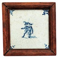 18th-Century Dutch Delft Cavaliers Tile