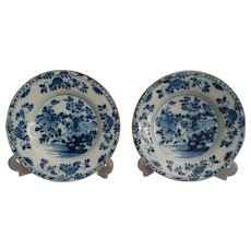 Antique 18th-Century Dutch Delft Faience Plates, Pair