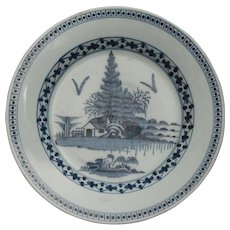 18th-Century Antique English Faience Delft Charger, Lambeth, Abigail Griffiths, Maker