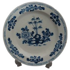 18th-Century Antique English Faience Delft Chinoiserie Charger Plate