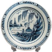 18th-Century Delft Chinoiserie Charger with Fisherman Figure