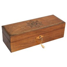19th-C English Marquetry Box, Lock & Key, Gloves