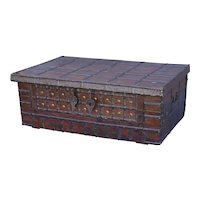 19th-Century British Colonial Coffee Table Chest Trunk