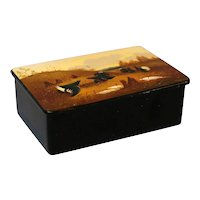Antique Hand Painted Table Box, with Scottish Highland Scene, Papier Mache