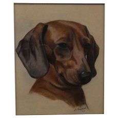 Daschund Dog Portrait Painting, L Church